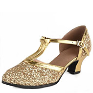"Women's Latin Modern Paillette Sandal Outdoor Buckle Low Heel Silver Golden 1"" - 1 3/4"" Non Customizable"