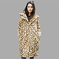 Høj krave Langærmet Tyk Dame Gul Ensfarvet Leopard Efterår Vinter Sexet Simpel Afslappet/Hverdag Fest/cocktail Plusstørrelser Pelsfrakke,