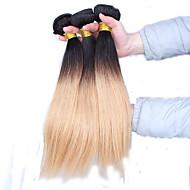 Aidot hiukset Perulainen Ombre Suora Hiuspidennykset 3 osainen Musta ruskean kanssa
