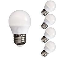 billige Globepærer med LED-5pcs 3W 300-350lm E26 / E27 LED-globepærer A60(A19) 10 LED perler SMD 5730 Mulighet for demping Dekorativ Varm hvit Kjølig hvit 110-130V
