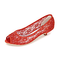 baratos Sapatos Femininos-Mulheres Sapatos Tricô Primavera / Verão Sandálias Salto Baixo Azul / Rosa claro / Ivory / Casamento / Festas & Noite