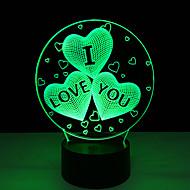 akryl 7 farveskiftende usb opladning 3d hjerte jeg elsker dig førte nat lys med 3d lysende indretning bordlampe vågelampe