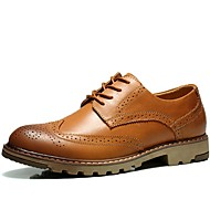 cheap Men's Shoes-Men's Shoes Leather Spring Fall Comfort Oxfords Lace-up for Athletic Casual Outdoor Brown