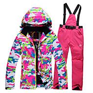 GQY® Pentru femei Jachetă de Schi & Pantaloni Impermeabil Keep Warm Rezistent la Vânt Purtabil Schiat Sporturi de Iarnă Poliester