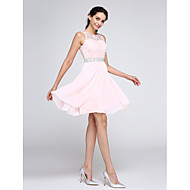 cheap -A-Line Illusion Neck Short / Mini Chiffon / Corded Lace Cocktail Party Dress with Crystals / Lace Insert by TS Couture®