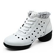 billige Dansesneakers-Kan ikke spesialtilpasses-Dame-Dansesko-Dansesko / Moderne-Lær-Flat hæl-Hvitt