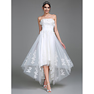 A-kroj Bez naramenica Asimetričan kroj Til Prilagođene vjenčanice s Aplikacije Nabrano po LAN TING BRIDE®