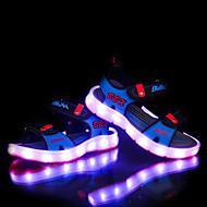 女の子-カジュアル-PUレザー-フラットヒール-靴を点灯-サンダル-ダークブルー グレー ライトブルー