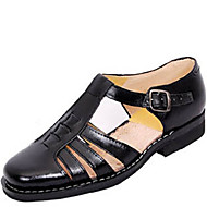 Men's Sandals Summer Leather Casual Flat Heel  Black Walking