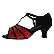 baratos Sapatilhas de Dança-Mulheres Latina Glitter Paetês Veludo Sintético Sandália Têni Salto Interior Lantejoulas Apliques Gliter com Brilho Vazados Franzido