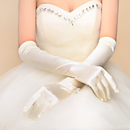 cheap Wedding Gloves-Elastic Satin Elbow Length Glove Bridal Gloves With Ruffles
