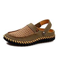 Sandály-Hnědá / Khaki-Pánské boty-Běžné-Kůže