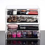 acrílico compõem organizador 4 gavetas caixa de armazenamento de plástico transparente organizadores cosméticos caixa de armazenamento