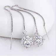 s925 sølv sukker kube fryns øredobber klassisk feminin stil