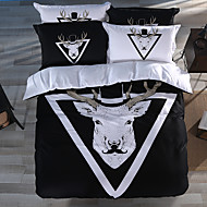 Royal Series Bedlinen 100% Cotton Bedding Sets Twin Queen King Size Black Goat