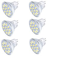 billige Spotlys med LED-YouOKLight 6pcs 350 lm GU4(MR11) LED-spotpærer MR11 15 LED perler SMD 5733 Dekorativ Varm hvit / Kjølig hvit 9-30 V / 6 stk. / RoHs / FCC