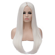 Cosplay Wig  60cm Long White Middle Part Straight Hair Fashion Wig For Women