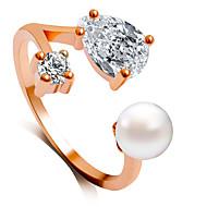 お買い得  ジュエリー-女性用 バンドリング  -  人造真珠 ファッション 6 / 7 / 8 シルバー / ローズ / ゴールデン 用途 結婚式