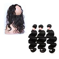 人毛 ブラジリアンヘア 閉鎖が付いている毛横糸 ウェーブ 前後なし ヘアエクステンション 4個 ブラック ナチュラルカラー