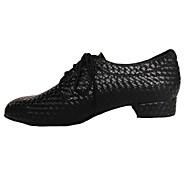 billige Men's Dance Shoes-Herre Moderne sko / Swingsko Kunstlær Høye hæler Snøring Lav hæl Kan ikke spesialtilpasses Dansesko Rød / Blå / Mørkegrå / Lær