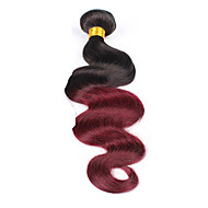 Human Hair Brazilian Ombre Hair Weaves Body Wave Hair Extensions 1 Piece Black/Dark Wine