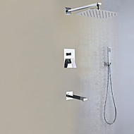 Contemporary Wall Mounted Rain Shower Handshower Included Ceramic Valve Two Handles Four Holes Chrome , Shower Faucet