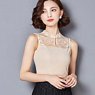 Veći konfekcijski brojevi Potkošulja Žene Jednobojni Ruska kragna Čipka Poliester