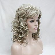 Femme Perruque Synthétique Sans bonnet Mi Longue Frisés Blond Avec Frange Perruques sans bonnet Perruque Halloween Perruque de carnaval