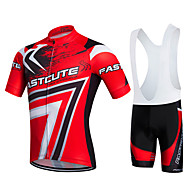 cheap -Fastcute Men's Women's Short Sleeves Cycling Jersey with Bib Shorts - Red Bike Clothing Suits, Quick Dry, Breathable, Sweat-wicking, 3D