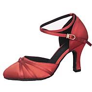 billige Moderne sko-Dame Latin Moderne Sateng Sandaler Høye hæler Profesjonell Innendørs Draperinger Kustomisert hæl Gul Rød Kustomisert hæl Kan