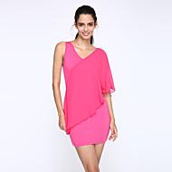Dámské Sexy Běžné/Denní Velké velikosti Bodycon Šaty Jednobarevné,Bez rukávů Do V Mini Polyester Léto High Rise Lehce elastické