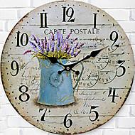 Moderno/Contemporâneo Família Relógio de parede,Redonda Madeira 34*34*3cm Interior Relógio