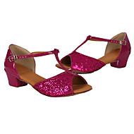 baratos Sapatilhas de Dança-Mulheres Sapatos de Dança Latina / Tênis de Dança Paetês Salto Lantejoulas / Cadarço Salto Robusto Personalizável Sapatos de Dança Prata