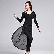 Dança Latina Roupa Mulheres Treino Algodão Chiffon Tule Fibra de Leite Fenda Frontal Manga Longa Natural Blusa Calças