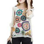 Pentru femei Mărime Plus Size Bluză Floral Flori Bej XL