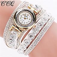 Kadın's Bilezik Saat Moda Saat Quartz Taşlı imitasyon Pırlanta Deri Bant Işıltılı Siyah Beyaz Gümüş