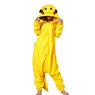 Adulto Pijamas Kigurumi Pika Pika Animal Pijamas de una pieza Lana Polar Amarillo Cosplay por Hombre y mujer Ropa de Noche de los Animales Dibujos animados Festival / Celebración Disfraces