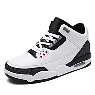cheap Clearance-Men's Shoes Microfibre Spring Fall Comfort Sneakers Basketball Shoes Lace-up for Athletic Casual Outdoor Black Blue Black/White