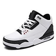 billige Skosalg-Herre sko Mikrofiber Vår Høst Komfort Treningssko Basketball Snøring til Atletisk Avslappet utendørs Svart Blå Svart/Hvit