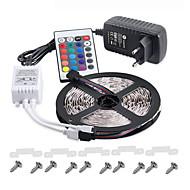 KWB 5 m Lyssæt 300 lysdioder 3528 SMD RGB Fjernbetjening / Chippable / Dæmpbar 100-240 V / IP65 / Vandtæt / Koblingsbar / Passer til Køretøjer / Selvklæbende