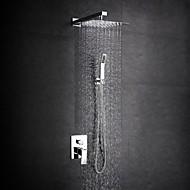 billige Rabatt Kraner-Moderne Dusjsystem Regndusj Utbredt Hånddusj Inkludert Keramisk Ventil Et Hull To Håndtak et hull Krom, Dusjkran