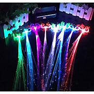 hallowmas luminosa trança 7 cores do partido perucas de cabelo fibra fulgor trança bar KTV 32 centímetros