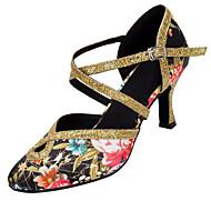 """billige Moderne sko-Dame Latin Moderne Paljett Sateng Sandaler Høye hæler Innendørs Profesjonell Paljett Spenne Kustomisert hæl Svart og Gull 1 """"- 1 3/4"""" 2"""