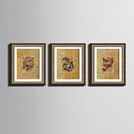 Dyr Innrammet Lerret / Innrammet Sett Wall Art,PVC Gylden Ingen Passpartou med Frame Wall Art