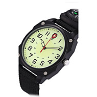 billige Militærur-Herre Quartz Armbåndsur Militærur Punk Selvlysende Kompas Stof Bånd Vintage Afslappet Mode Sej Sort Grøn