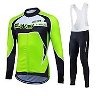 Fastcute Muškarci Žene Dugih rukava Biciklistička majica - Crn Bicikl Kompleti odjeće, Pad 3D, Ugrijati, Quick dry, Podstava od flisa,