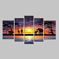 billiga Topp Konstnär-HANDMÅLAD Abstrakt Alla Form Fem paneler Kanvas Hang målad oljemålning For Hem-dekoration