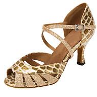 baratos Sapatilhas de Dança-Mulheres Sapatos de Dança Latina / Sapatos de Salsa Glitter / Courino Sandália / Salto Gliter com Brilho / Presilha Salto Personalizado