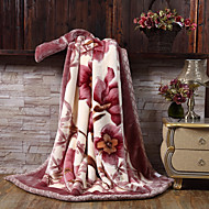 cheap Blankets & Throws-Coral fleece, Printed Floral / Botanical Polyester/Polyamide Blankets