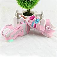 女の子 サンダル ライトアップシューズ レザー 夏 カジュアル ライトアップシューズ リボン フラットヒール ホワイト ピンク フラット